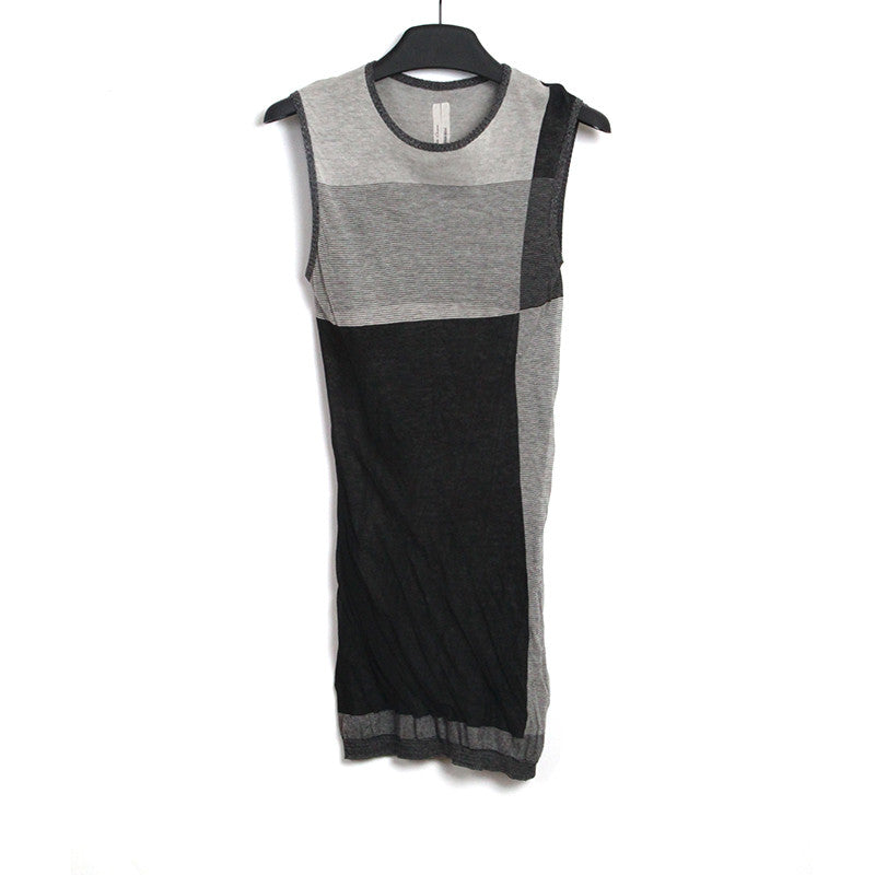 "RICK OWENS 14SS ""VICIOUS"" COLOR BLOCK KNIT SLEEVELESS TEE"