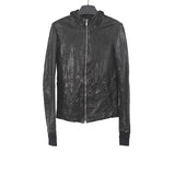 RICK OWENS LEATHER HOODED INTARSIA JACKET