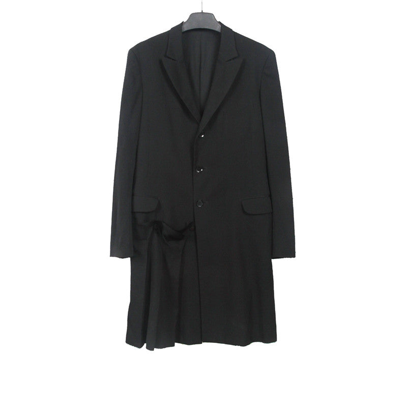 YOHJI YAMAMOTO 13AW WOOL SINGE BREAST COAT WITH PLEATS