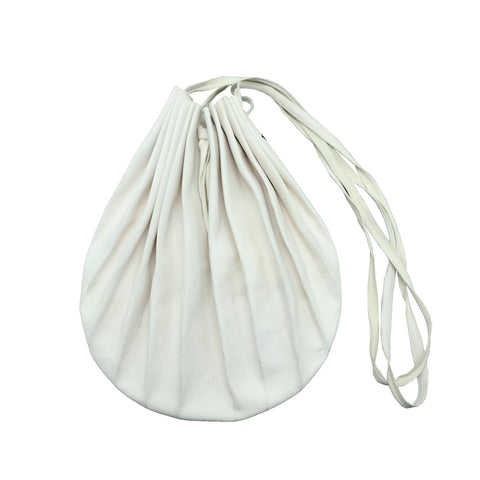 M.A+ B704 WHITE CALF LEATHER MEDIUM SIZE  PLEATED HANDBAG