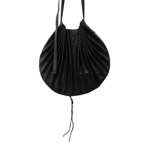 M.A+ B706 BLACK LEATHER SHELL MESSANGER BAG