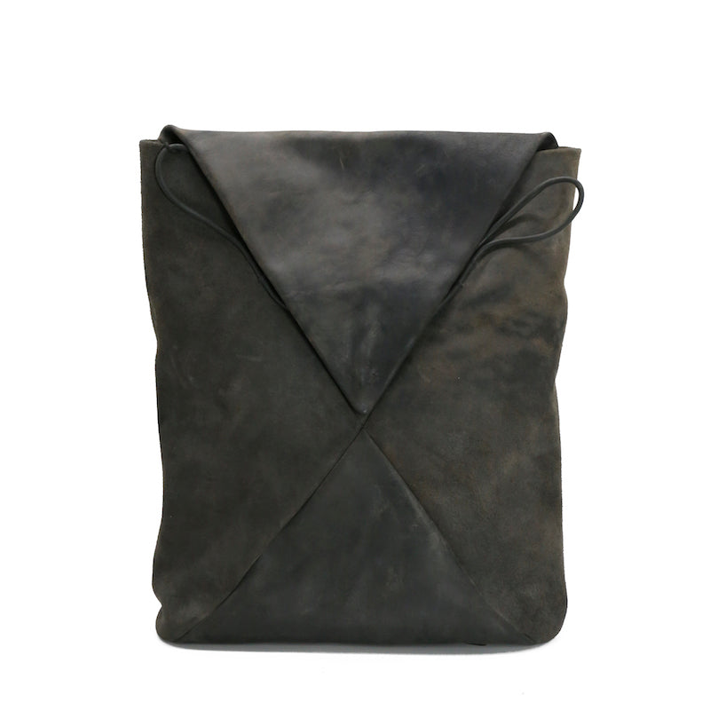 "M.A+ BE155 REVERSE HORSE LEATHER 15"" ENVELOPE BACKPACK"