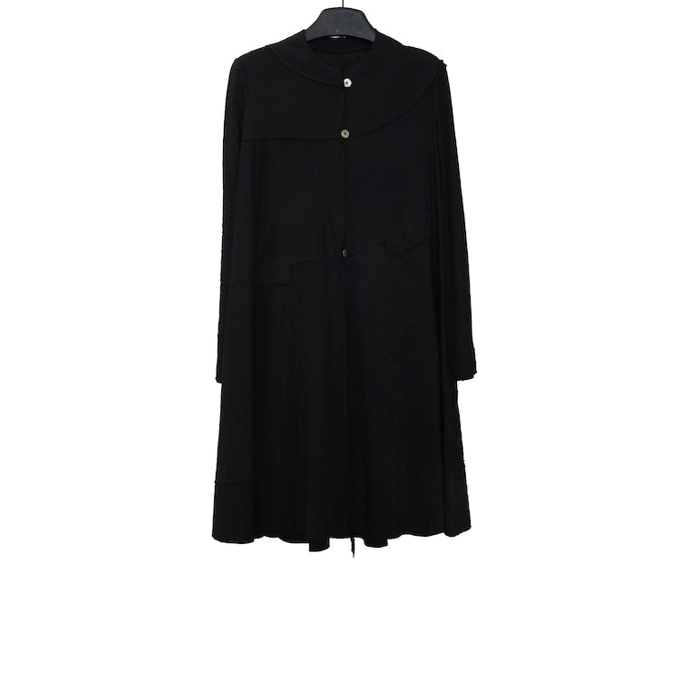 M.A+ CW374-VCD BLACK VISCOSE SPIRAL BODY UNLINED WIDE COAT