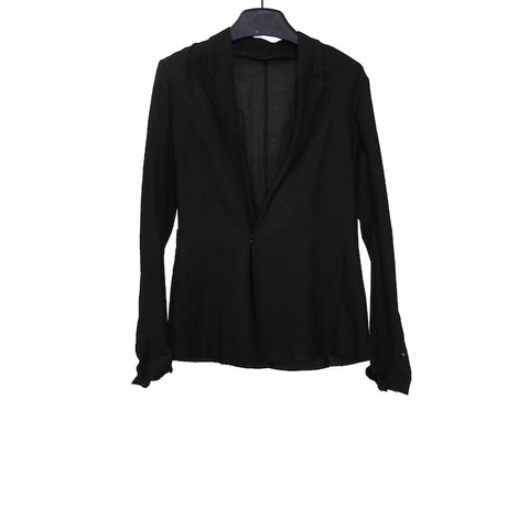 M.A+ J120 BLACK LINEN VERTICAL POCKET UNLINED BLAZER