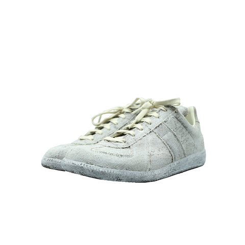 MAISON MARGIELA WHITE CANVAS PAINTED REPLICA GERMAN ARMY SNEAKER