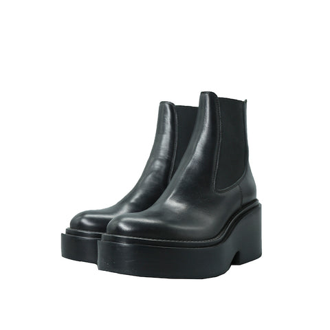 MM6 MAISON MARGIELA BLACK CALF LEATHER PLATFORM CHELSEA ANKLE BOOTS