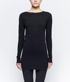 M.A+ T211D-JCWD2 BLACK COTTON ONE PIECE LONG SLEEVE T-SHIRT