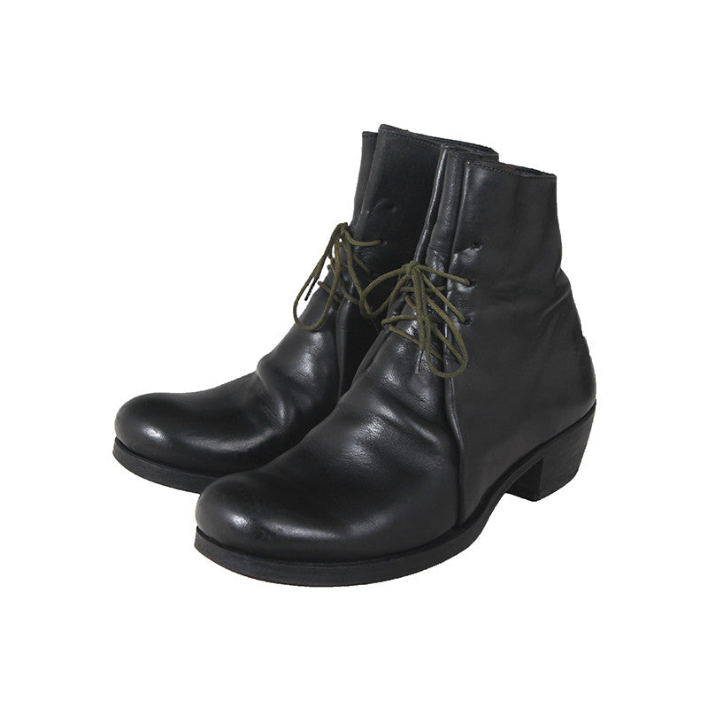 M.A+ BY MAURIZIO AMADEI COW LEATHER LACE UP DOUBLE FOLD BOOTS