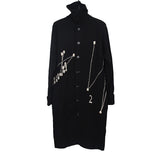 YOHJI YAMAMOTO 14AW LAINE WOOL JOIN THE DOTS ROLL NECK BUTTON DOWN CARDIGAN