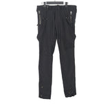 GREG LAUREN ARMY TENT SUSPENDER PANTS WITH WAFFLE KNIT PANELS AND ZIP CUFFS