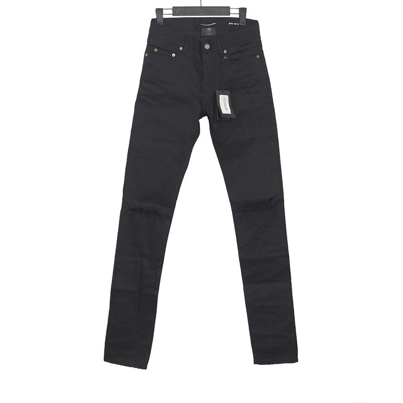 SAINT LAURENT PARIS RIPPED DESTROYED COTTON DENIM JEANS