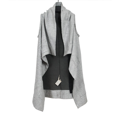 DRKSHDW BY RICK OWENS PAINTED CRACK COTTON DRAPE SLEEVELESS JACKET