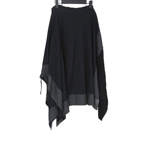 COMME DES GARCONS PATCHWORK STRIPE WRAP BUCKLE SKIRT
