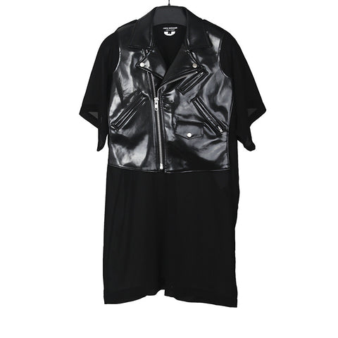 JUNYA WATANABE 15SS FAUX LEATHER SHORT SLEEVES BIKER DRESS