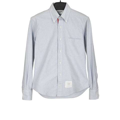 THOM BROWNE CLASSIC SIGNATURE GROSGRAIN FACING PLACKET OXFORD CLOTH SHIRT