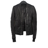 RICK OWENS INTARSIA LEATHER SHORT JACKET