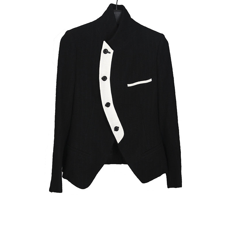 Y'S BY YOHJI YAMAMOTO WOOL BLEND SINGE BREASTED ONE SIDE WHITE LAPEL DETAIL JACKET