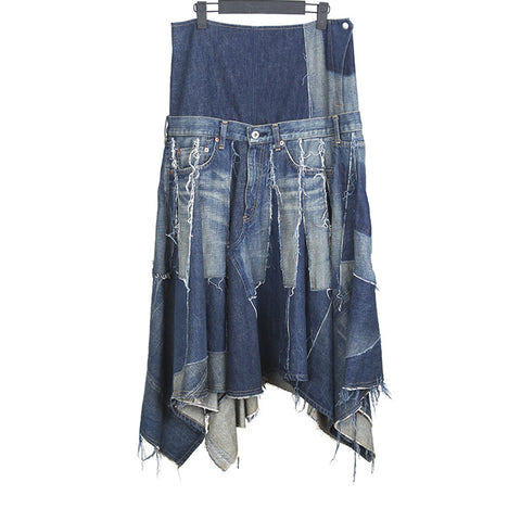 JUNYA WATANABE DENIM MIXED PATCHWORK SKIRT