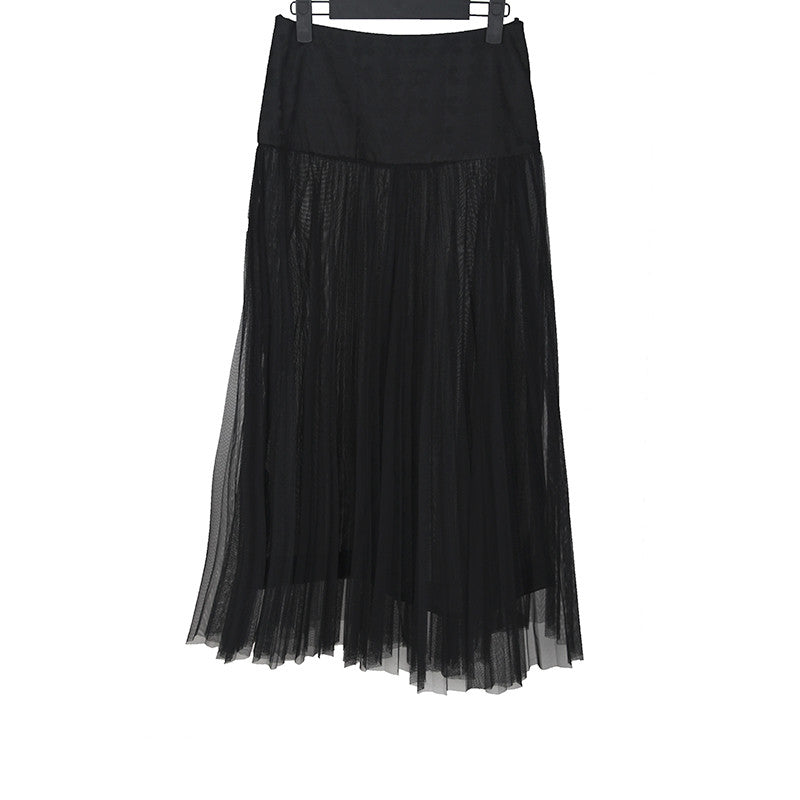 CHANEL 2012 RUFF LINE SKIRT W/ SILK WAIST BAND