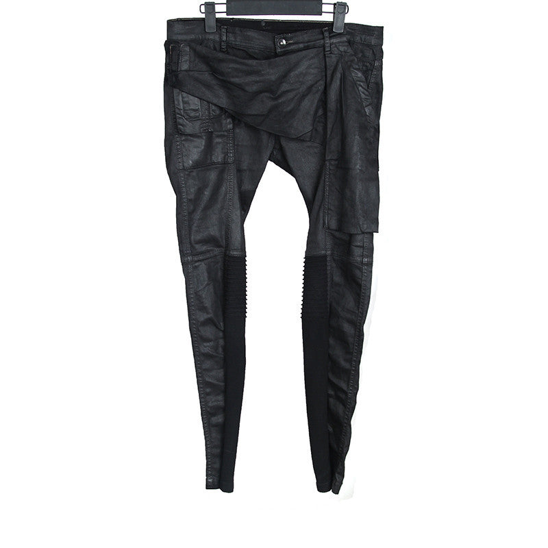 DRKSHDW BY RICK OWENS WAXED COTTON MEMPHIS BIKER TROUSERS PANTS