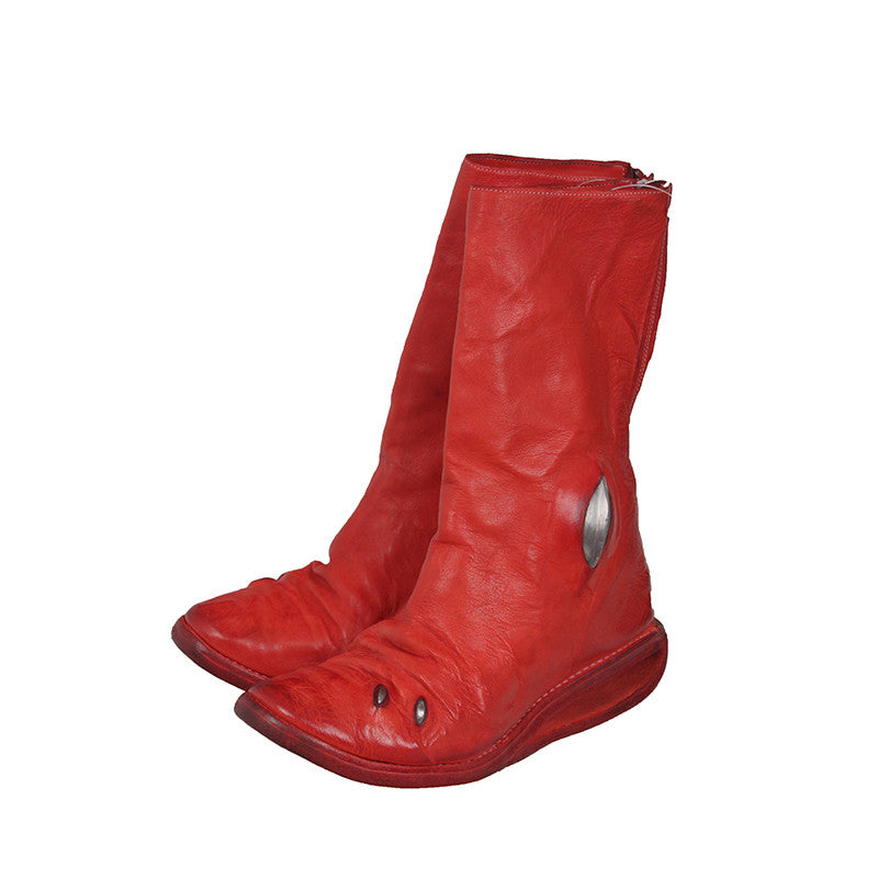 CAROL CHRISTAN POELL RED AM/2688 CCP U-SOLE DIAGONAL ZIP LETHER BOOT