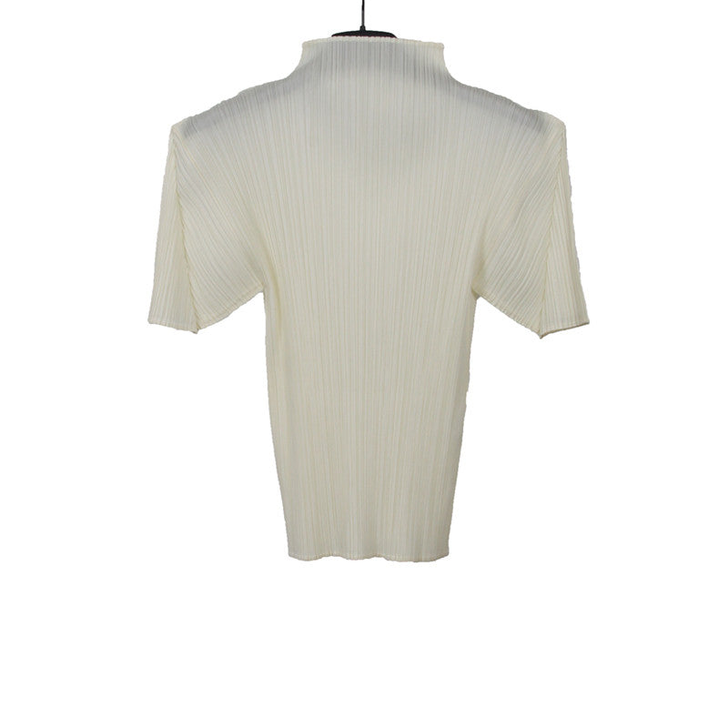 PLEATS PLEASE BY ISSEY MIYAKE POLYESTER MID NECK SHORT SLEEVE TEE