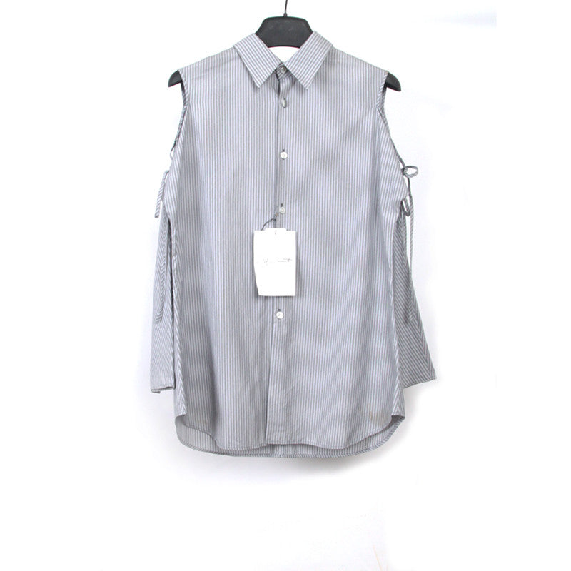 YOHJI YAMAMOTO BUTTON FRONT OPEN SHOULDER & SCOOP BACK WITH 3/4 LENGTH SLEEVE STRIPED SHIRT