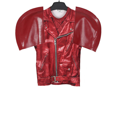 JUNYA WATANABE 15SS FAUX LEATHER SHORT SLEEVE BIKER JACKET PRINTED T SHIRT