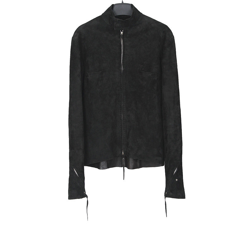 M.A+ BY MAURIZIO AMADEI REVERSE LEATHER BIKER JACKET