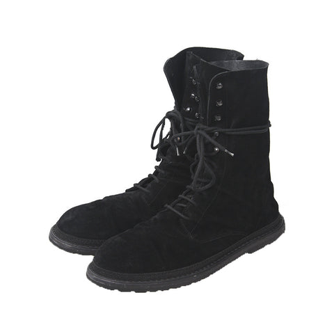 ANN DEMEULEMEESTER SUEDE HI-TOP RIDER BOOTS