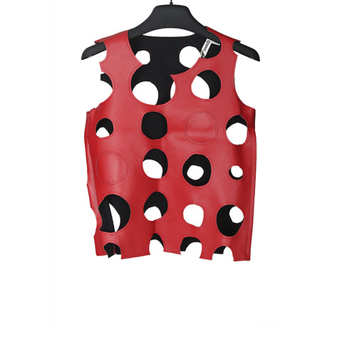 COMME DES GARCONS 15SS ARTIFICIAL LEATHER CHEESE HOLE VEST