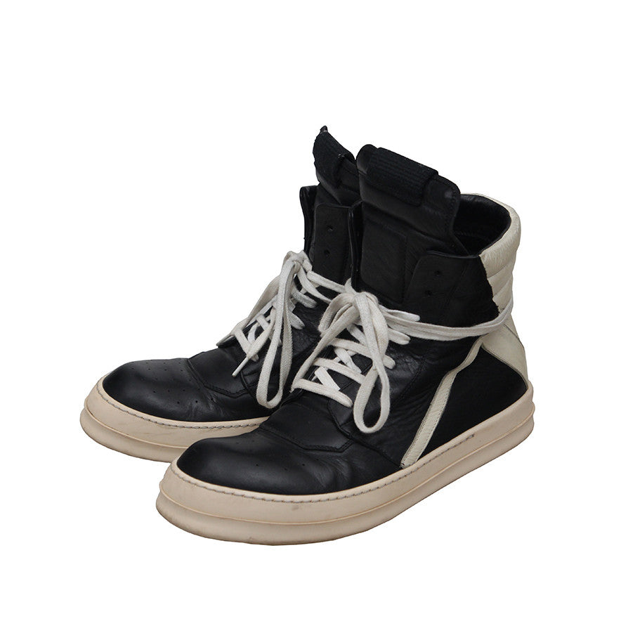 RICK OWENS GEOBASKET BLACK&WHITE LEATHER HIGH-TOP SNEAKERS