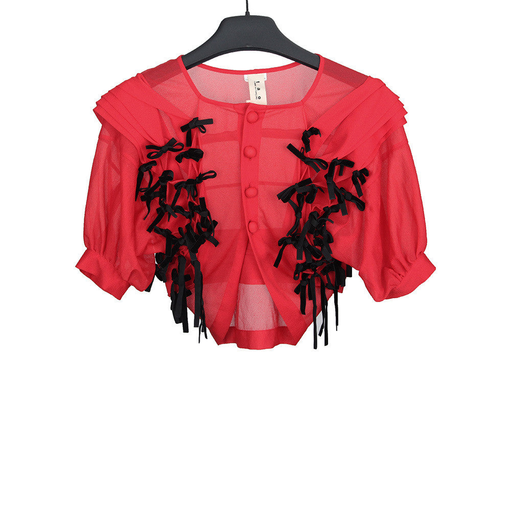 TAO COMME DES GARCONS AW09 RED TEXTURED BOLERO JACKER W/ BOWS ELEGANT LAYERED TEXTURE DETAILS