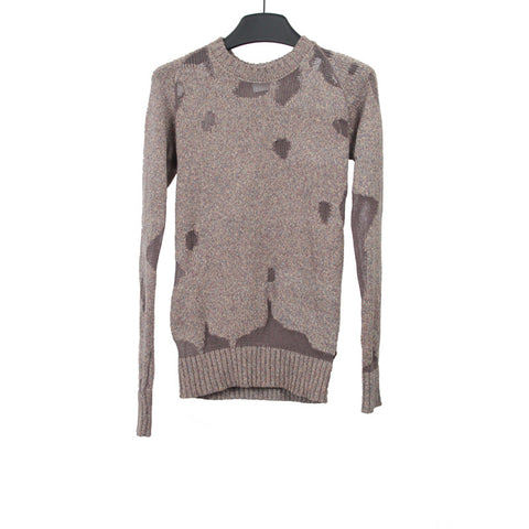 MIHARAYASUHIRO WOOL BLEND DAMAGED PATCHWORK DESIGN SWEATER