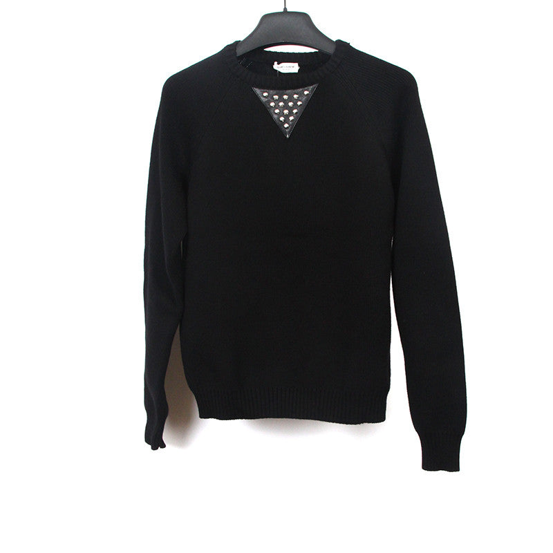 SAINT LAURENT PARIS 14AW WOOL BLEND STUDDED LEATHER TOGGLE SWEATER