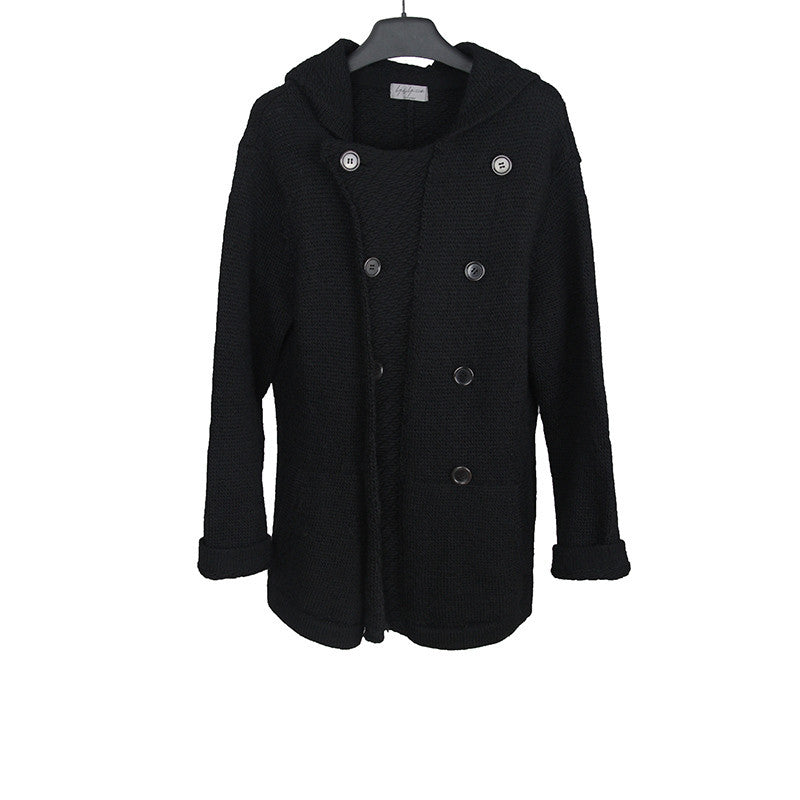 YOHJI YAMAMOTO DOUBLE BREASTED WOOL KNIT COAT