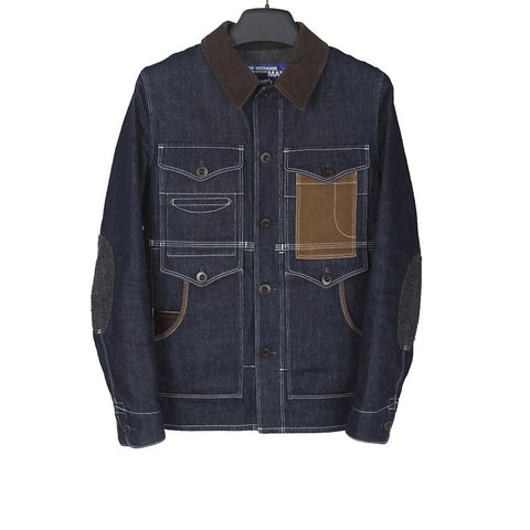 JUNYA WATANABE FLANNEL PLAID BACK PANEL MUTI POCKET RAILMAN DENIM JACKET