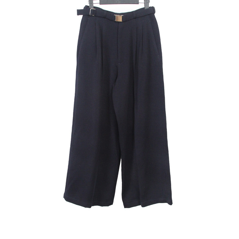 Y'S BY YOHJI YAMAMOTO LAINE WOOL BELTED WIDE LEG PLEATED PANTS