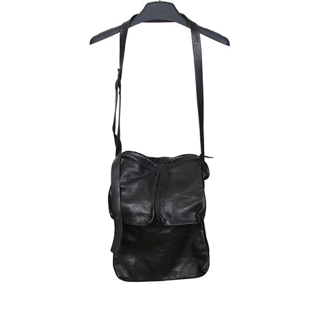 M.A+ COW LEATHER MUTIPULE SIDE POCKETS MESSENGER BAG