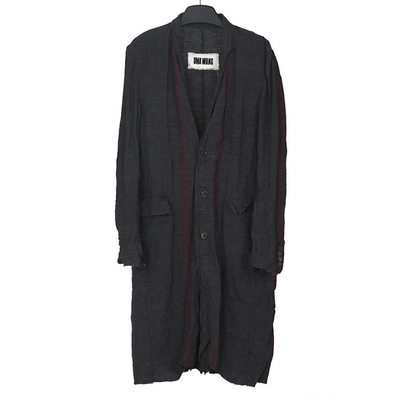 UMA WANG 15SS LINEN UNSTRUCTURED RED STRIPES COAT