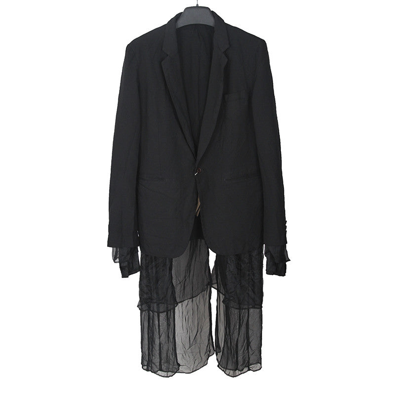 COMME DES GARCONS 14SS POLYESTER ELONGATED DOUBLE LAYER BLAZER