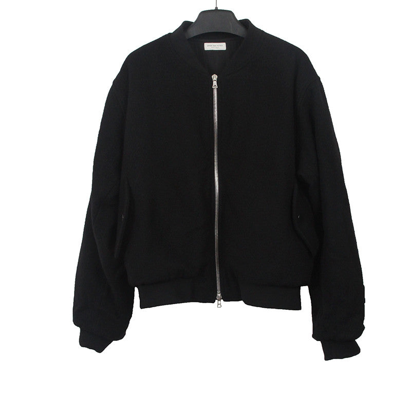 DRIES VAN NOTEN WOOL TWO WAY ZIPPER- DETAILED BOMBER JACKET