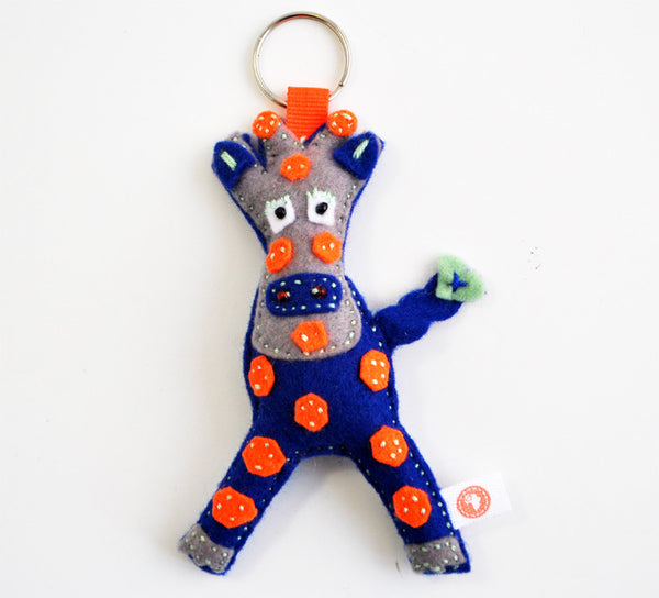 BUSHFELT KEY RING - RIBBON - GIRAFFE