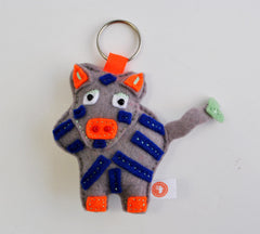 BUSHFELT KEY RING - RIBBON - ZEBRA