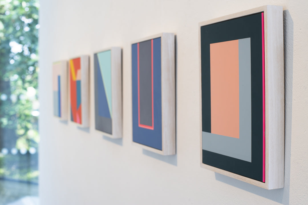 Frea Buckler's new collection of paintings onto aluminium 'Parade' exhibition hanging for Smithson Gallery