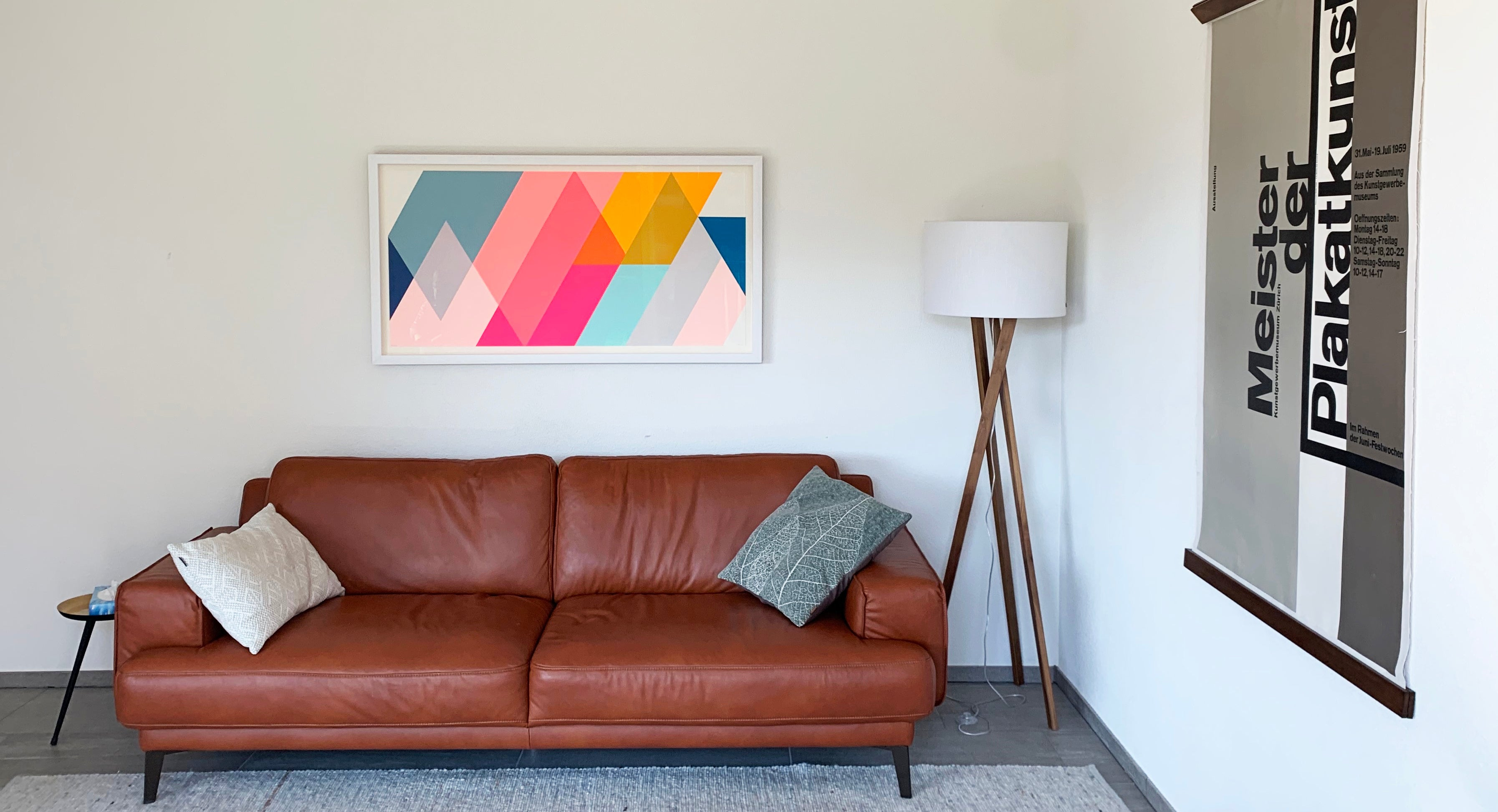 Frea Buckler unique abstract geometric framed screenprint in situ, Smithson Gallery