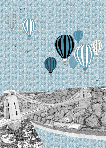 Clare Halifax: Blue Balloons over Bristol
