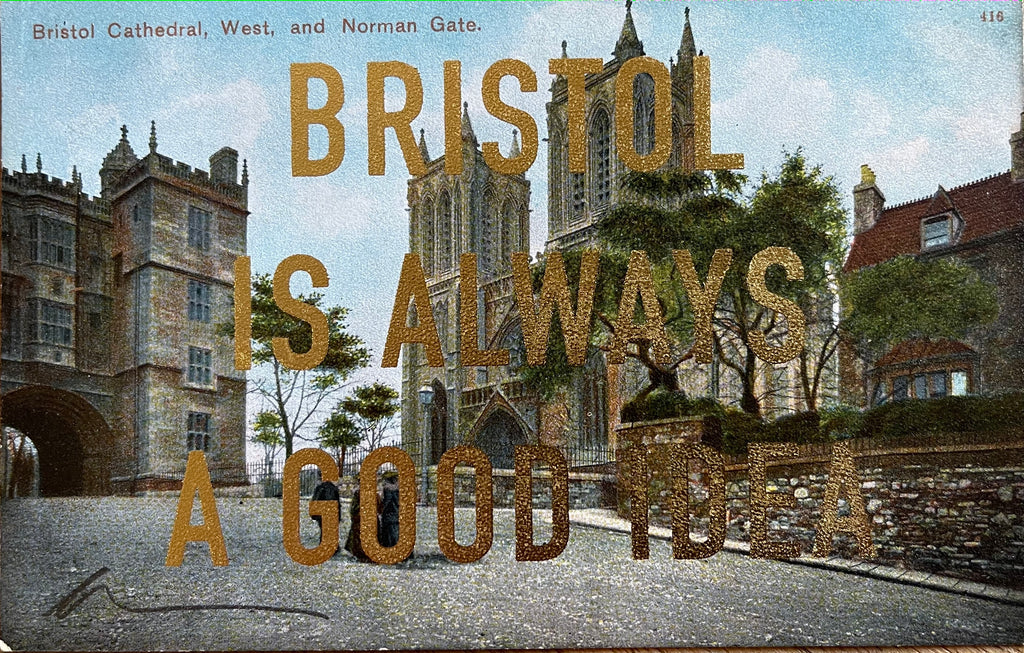 Dave Buonaguidi: Bristol Postcard - Bristol Cathedral and Norman Gate