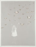 Clare Cutts: Girl with Butterflies Taupe - Smithson Gallery - 1