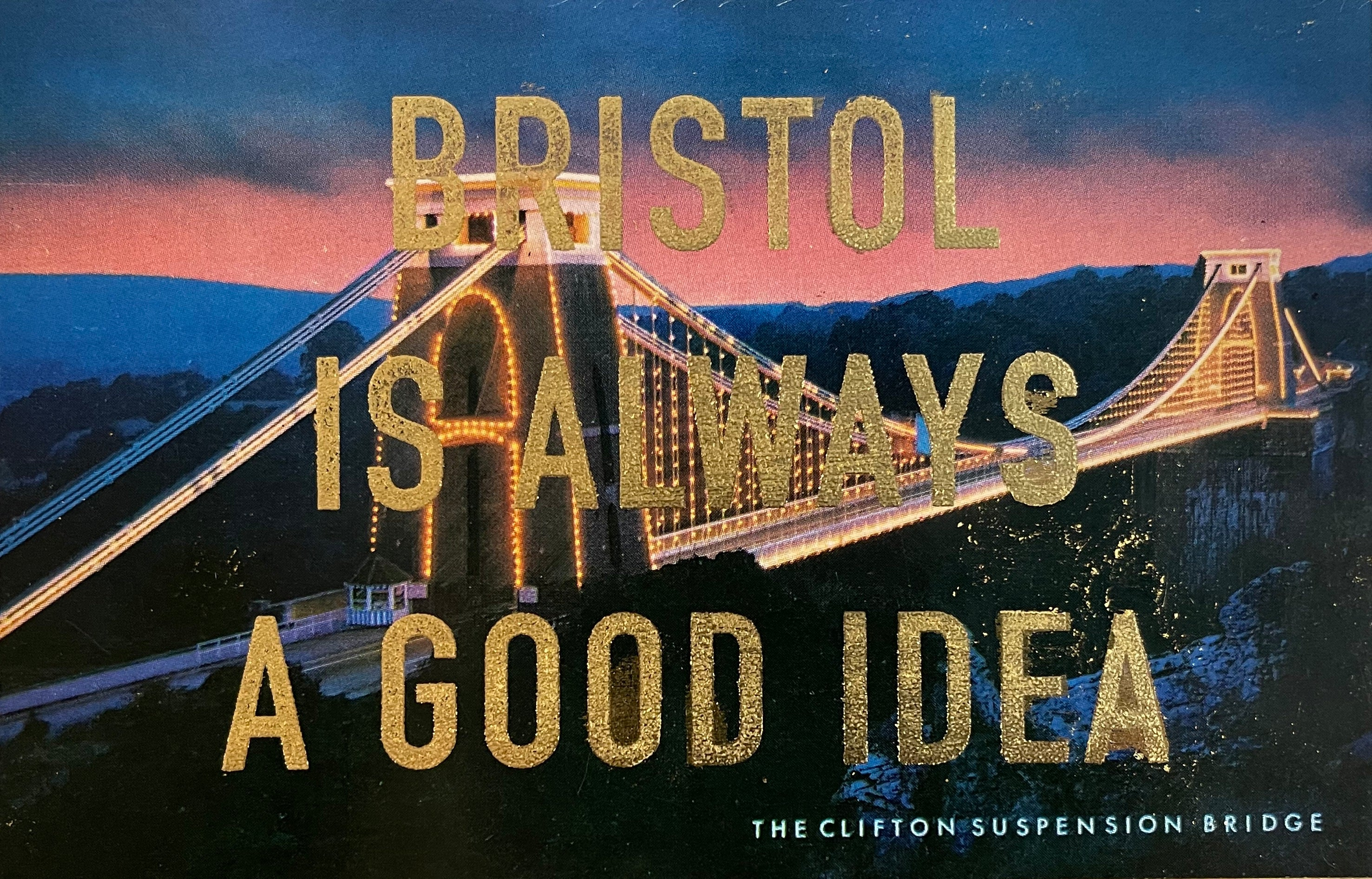 Dave Buonaguidi: Bristol Postcard - The Clifton Suspension Bridge at Night